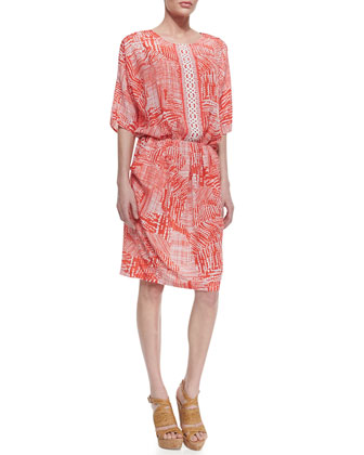 Indikka Printed Jewel-Neck Dress