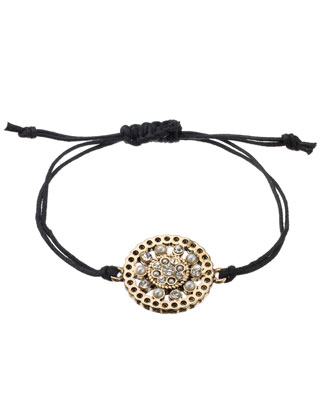 Baroque Filigree Disc Friendship Bracelet | Black | Accessorize