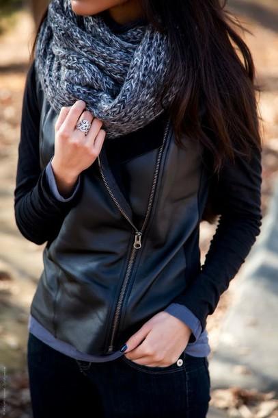 jacket leather jacket scarve scarf