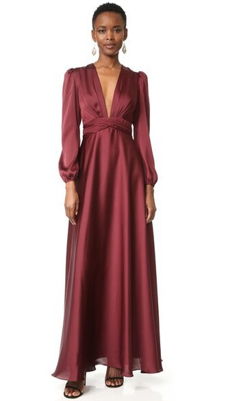 gown v neck oxblood dress