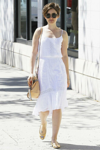 dress boho dress lily collins white dress summer dress summer midi dress