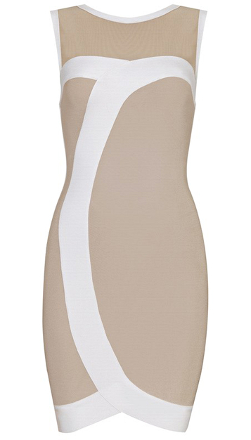 Mesh Insert Asymmetric Bandage Dress Nude