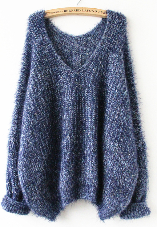 Navy Long Sleeve V Neck Oversize Mohair Sweater - Sheinside.com