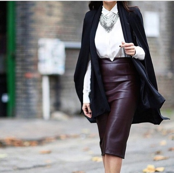 skirt leather skirt leather red brown pencil skirt sexy