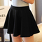 Women stretch high waist skirt plain skater flared pleated sexy mini short dress