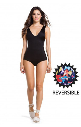 swimwear agua bendita black reversible one piece gorgeous