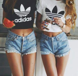 adidas adidas top crop tops black and white black white black adidas crop top white adidas crop top adidas crop top shorts denim basic cute hipster shirt t-shirt white t-shirt black t-shirt bff adidas originals cropped t-shirt distressed denim shorts denim shorts ripped shorts top adidas t-shirt adidas shirt best friend shirts bff shirts