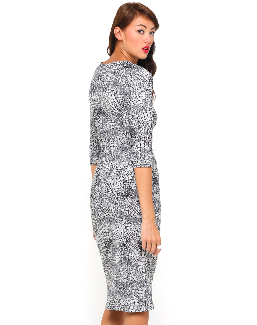 Buy Motel Suni Bodycon Midi Dress in Snake Waffle Grey at Motel Rocks