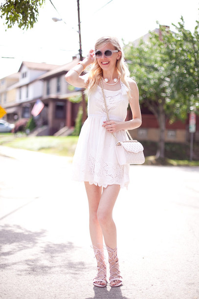 Cocorosa Blogger Sunglasses Pearl White Dress Summer