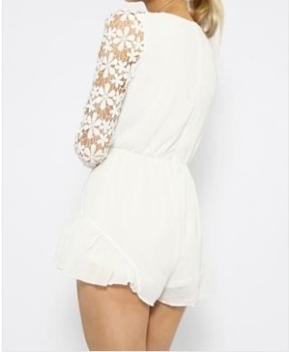Outletpad   Decorative Flower Long Sleeves Playsuit White   Online Store Powered by Storenvy