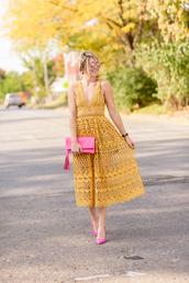 style archives - seersucker and saddles,blogger,dress,bag,shoes,jewels,midi dress,yellow dress,lace dress,pink bag,high heel pumps,pink high heels