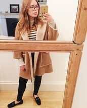 top,tanya burr,jacket,sweater,striped top,pants,shoes