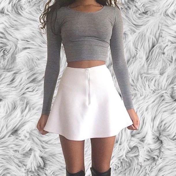 Skirt Shirt Top T-shirt Crop Tops Grey Long Sleeves Grey Top Grey Crop Top Grey Cute ...