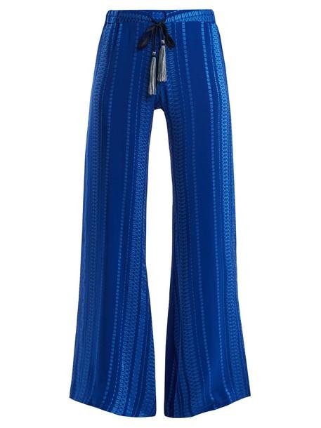 ZEUS + DIONE jacquard geometric silk blue pants
