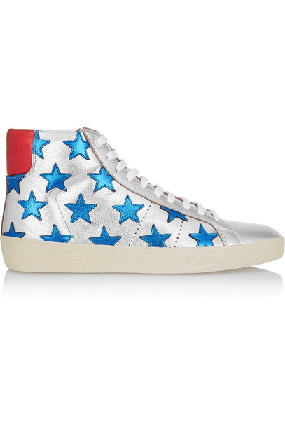 Saint Laurent metallic high classic sneakers leather silver blue shoes