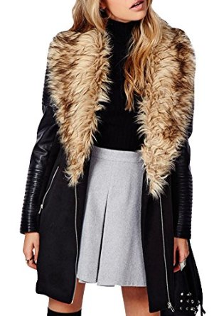 Hdy women's winter casual faux fur pu leather turn collar outwear coats at amazon women's coats shop