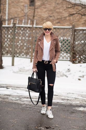 style archives - seersucker and saddles blogger jacket t-shirt belt bag jewels gucci belt black jeans brown jacket handbag sneakers