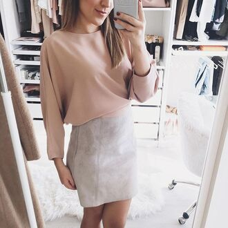 top tumblr long sleeves pink top skirt mini skirt grey skirt all beige everything