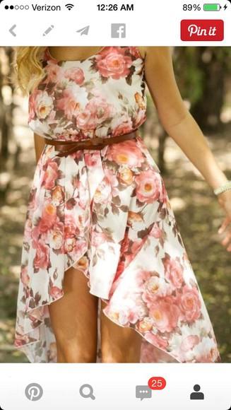 sundress floral fitted waist high low sleeveless peach cream sleeveless dress flowing
