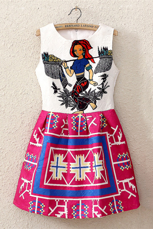 Ethnic Style Print Sleeveless Dress [DLN0073] - PersunMall.com
