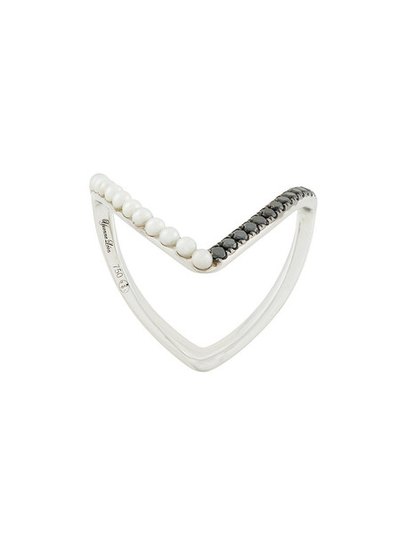 Yvonne Léon women embellished ring gold white grey metallic jewels