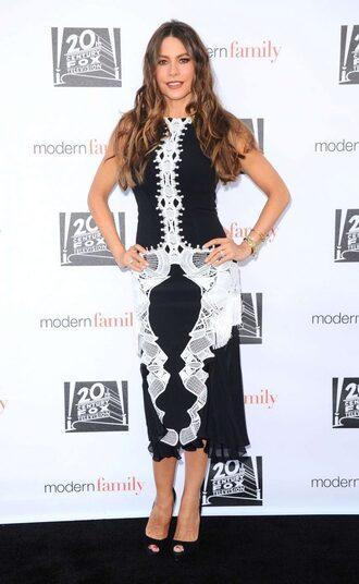 dress midi dress sandals sofia vergara black and white black and white dress