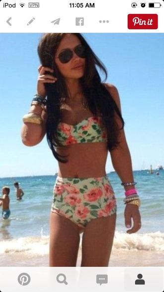 swimwear floral swimwear high waisted bikini bikini