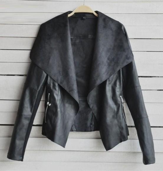 coat jacket black short fur coat pu leather overcoat outwear motorcycle jacket c