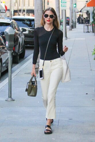 top bodysuit jeans jaime king sandals sunglasses streetstyle