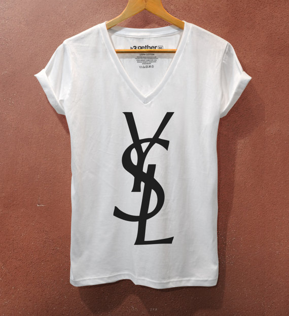 Ysl yves saint laurent fashion printed v neck by the3gethershop