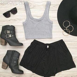 shorts black black shorts gray grey crop tops crop tank tank top grey tank top