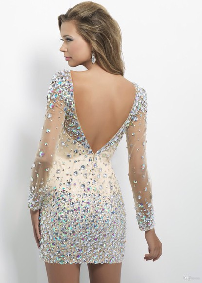 embellished prom dress dress prom dresses 2014 party dress cocktail dresses sparkly dress low back dress crystal dress gorgeous dress champagne dress mini dress long sleeve dress