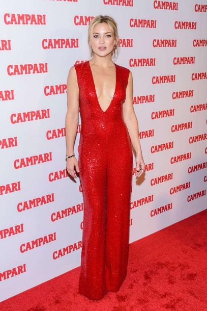 jumpsuit kate hudson red sequins red carpet plunge v neck pants sequin  jumpsuit v neck - Jumpsuit: Kate Hudson, Red, Sequins, Red Carpet, Plunge V Neck