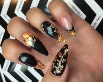 make-up nails black black and gold metallic nails acrylic nails fake nails nails inc gold nails gold gold sequins