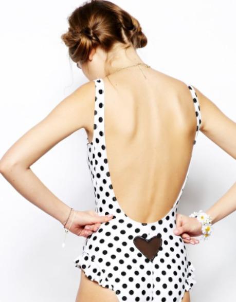 swimwear polka dots heart swimwear bikini swimwear underwear pretty coral cute one piece swimsuit
