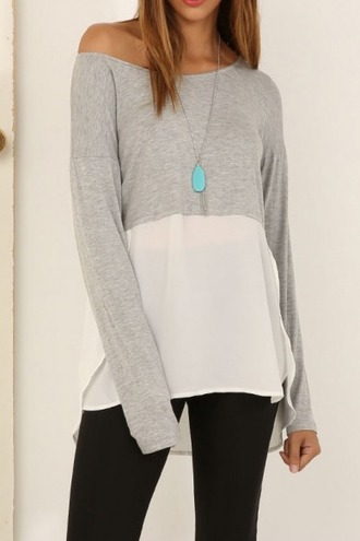 blouse girl girly girly wishlist cute grey long sleeves