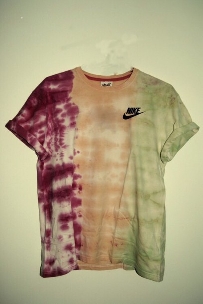 shirt tie dye shirt nike cute yellow green red
