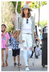 cardigan,stripes,ripped jeans,alessandra ambrosio,sneakers,hat,sunglasses,spring outfits,spring,purse,jeans,bag