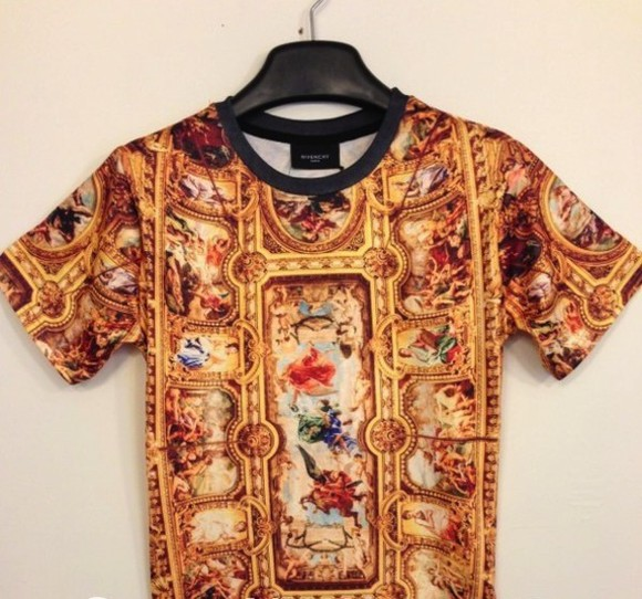 religious t-shirt shirt colorful print painted cealings gold street fashion