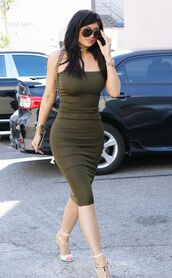shoes,sandals,strapless,dress,bodycon,kylie jenner,sunglasses,olive green,summer outfits,All military green outfit