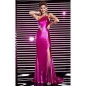 dress,slit dress,customized,fuchsia