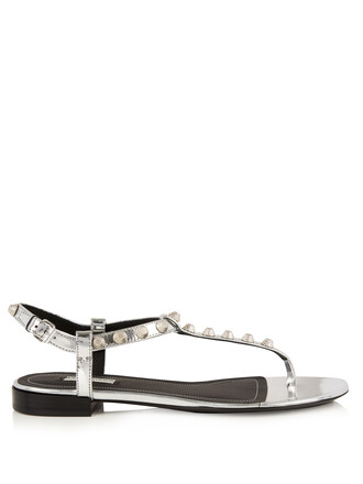 studded sandals leather sandals leather silver shoes