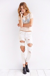 jeans,white denim,ripped jeans,zip,top