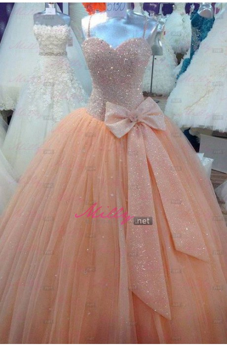 Buy unique floor length ball gown blush formal dress at millybridal.net