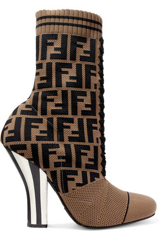 sock boots mesh jacquard knit brown shoes