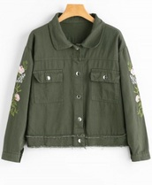 jacket,olive green,embroidered,girly,button up