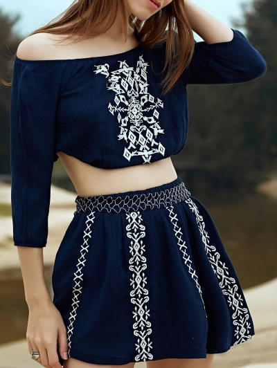 Embroidery 3/4 Sleeve Off The Shoulder Blouse and Elastic Waist Drawstring High Wasit Skirt