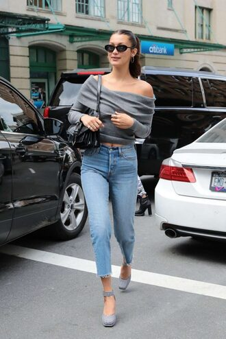 top off the shoulder off the shoulder top sweater jeans shoes bella hadid model off-duty streetstyle sunglasses spring outfits