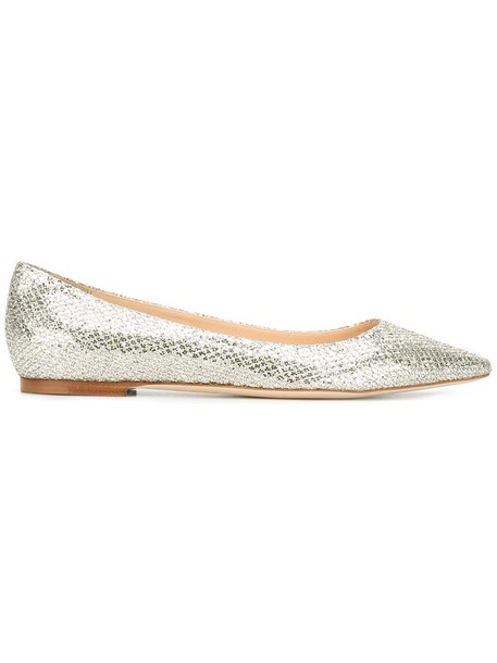 Jimmy Choo women leather grey metallic shoes