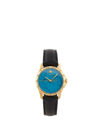 leather watch watch leather blue black jewels